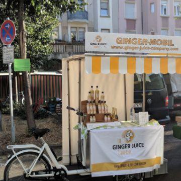 Das Ginger Juice Lastenrad als Marktstand